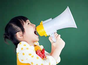Cute girl with megaphone